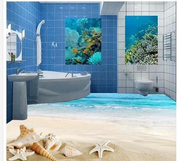Custom photo floor wallpaper 3D stereoscopic Floor sea beach 3d mural PVC wallpaper self-adhesion floor wallpaer 20157024
