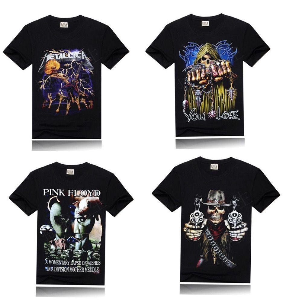 Man Spring Multi Color T Shirt Metallic Slayer Gun Skull Flower Death  Machine Rock Tee Shirt Printed Tshirt Men 3D T Shirt Designer Shirts White