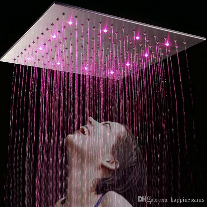 الصين facoty العرض 20 بوصة حمام ساحة المقاوم للصدأ المصقول إنهاء led هيدرو الطاقة رئيس دش ducha 50 سنتيمتر * 50 سنتيمتر رئيس دش المطر