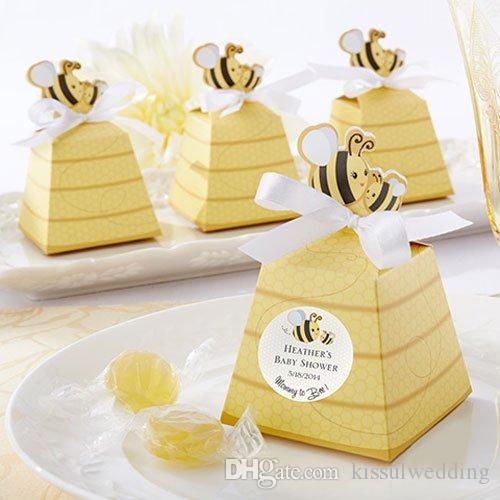 "Newest Cake box of ""Sweet as Can Bee"" Bee Favor Box for baby birthday and baby shower candy bags and wedding souvenirs 50PCS/LOT Free ship"