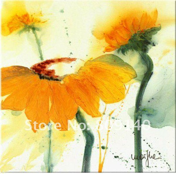 2019 Oil Painting Canvas Yellow Flower Abstract Sunflower Artwork Decoration High Quality Handmade Home Office Hotel Wall Art Decor Free Ship From