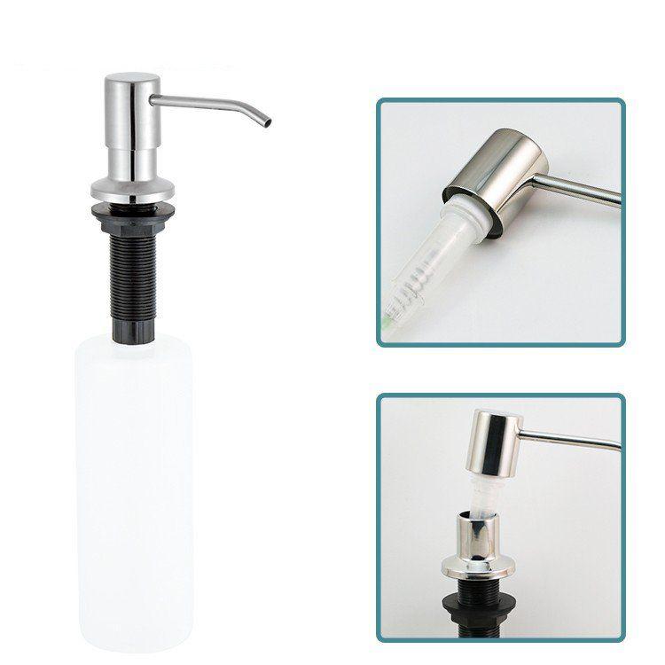 F25-1 resistente 304 lavello in acciaio inox dispenser di sapone 17OZ PE Bottiglia dispenser di sapone facile ricaricabile dall'alto contatore per il kit