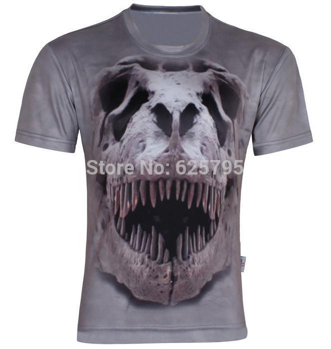 w1209 хип-хоп динозавр скелет печатных мужская прохладный 3D футболка,лето с коротким рукавом тонкий футболка S-6XL,D02,плюс размер