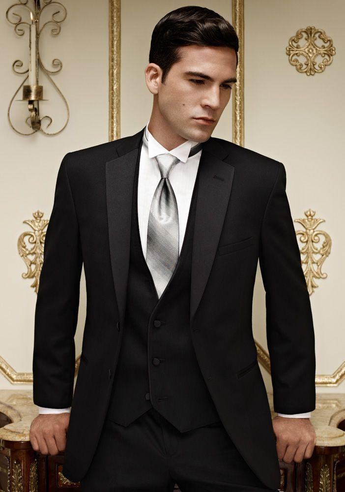 Custom Made Black Groom Wedding Tuxedos Notched Lapel Style Groom Wear Two Buttons Mens Suits Prom Suit For Men (Jacket+Pants+Vest+Tie)