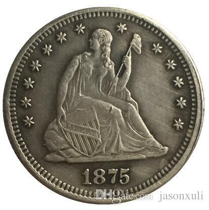 1875-CC Seated Liberty Quarter COPIEZ L'EXPÉDITION GRATUITE