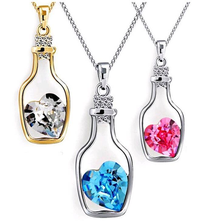 Wishing Bottle Jewelry Heart Pendant Necklaces Fashion Crystal Sparkle Stone Sautoir for girls Sale Cheap 8colors