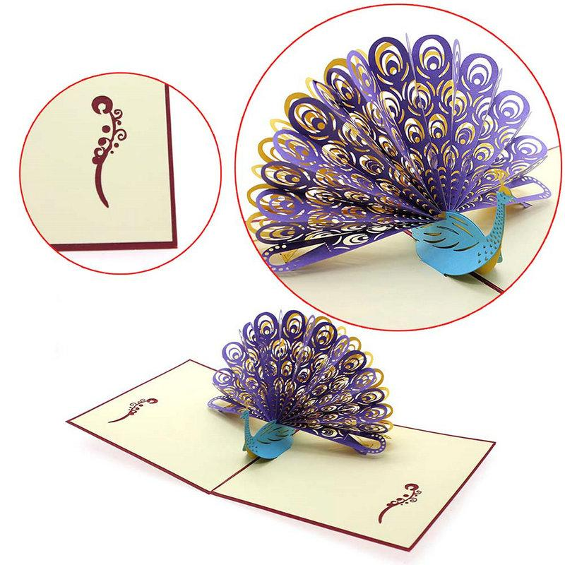 Wholesale- New Easter Day 3D Up Peacock Handmade Luck Best Wish Greeting Card Kirigami Paper Craft 15*15cm