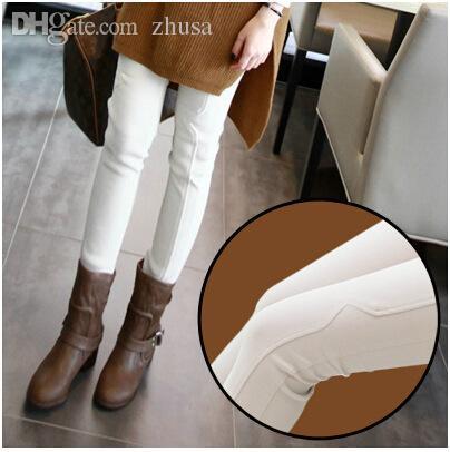 Al por mayor-Plus gruesas polainas de terciopelo invierno 2015 nuevas señoras coreanas desgaste exterior pies blancos lápiz pantalones H0269