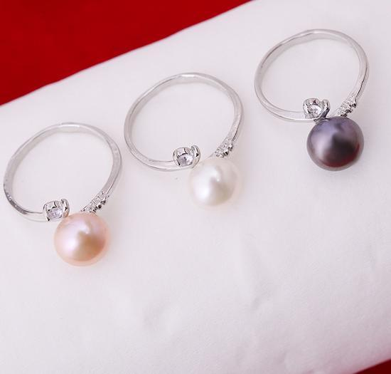 Hot sale 8-9 mm round natural pearl ring J001