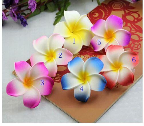 30%off 100pcs/lot Hawaii beach vacation Frangipani Flower Artificial flowers Bridal Wedding Party foam Hair Clip Plumeria hair accessories