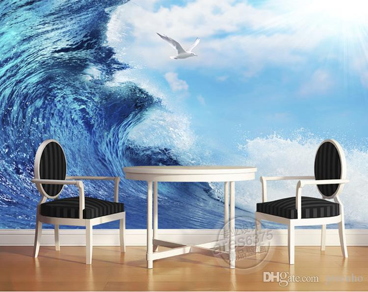 3D Ocean Sea Mew Photo Wallpaper Modern Giant Wall Mural Silk Art Painting Bedroom Kids
