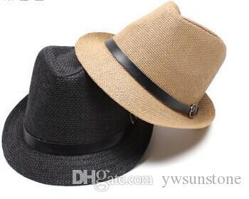 Cappello casuale di Fedora del cowboy del cappello di jazz della paglia di Panama della paglia di Sun della spiaggia degli uomini delle donne unisex, trasporto libero di 6PCS / LOT
