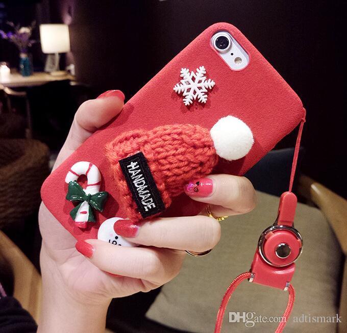 الفراء قبعة عيد الميلاد الحال بالنسبة للآيفون 6 6S 7 زائد لطيف فتاة دافئة الصلب واقية حالة الهاتف لفون 6 6S 7 زائد غطاء فاخر