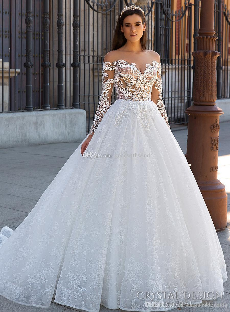Romantic Princess Long Sleeves Ball Gown Lace Wedding Dresses 2017 Crystal Design Bridal Off The Shoulder Sweetheart Neckline Sheer Back Princess Ball Gowns Princess Wedding Gowns From Zhiyuanwedding999 1 507 54 Dhgate Com,Wedding Dress In Chicago