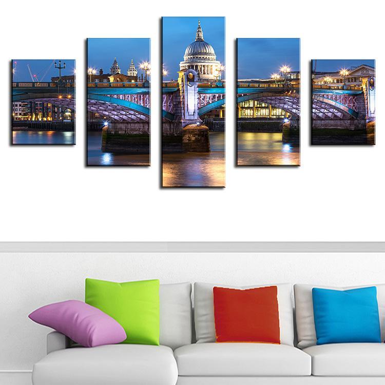 5 Panel blackfriar-bridge-london 3d pintura Modern Home Decor Canvas Canvas Picture Lámina de pared Lienzo Arts Unframed