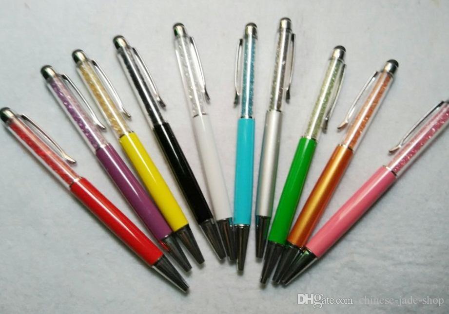 Penna a sfera di stilo capacitivo Penna da 5,7 pollici Diamond Crystal 2 in 1 Touch Screen Strass Scrittura per il telefono cellulare Tablet PC 200pcs / lot