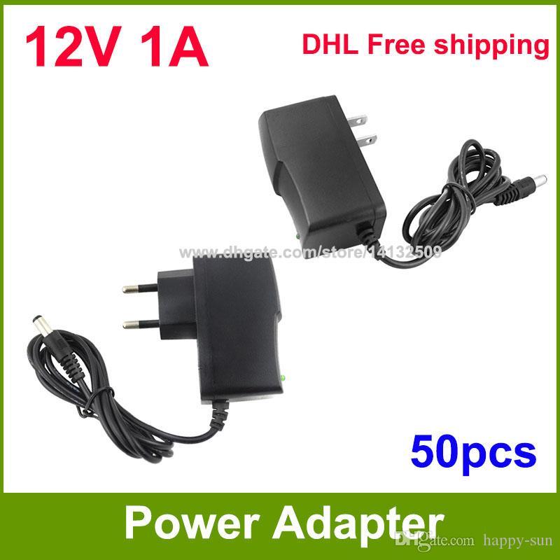 High Quality 50pcs AC 100V~240V to DC Power supply 12V 1A adapter adaptor US / EU -EU Plug DHL Free shipping