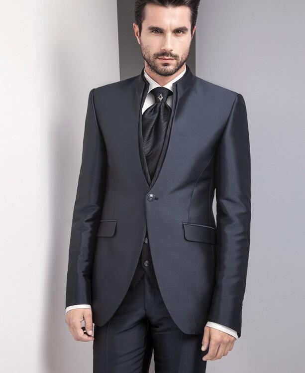 Новая мода на заказ черный мужской костюм свадебный жених костюмы (куртка + брюки + жилет) красивый мужской BusinessTuxedos Бесплатная доставка
