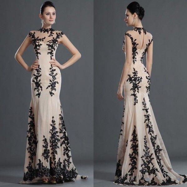 Sheer Lace Abendkleider 2015 High Neck Backless Meerjungfrau Sweep Zug Appliqued Perlen Formal Party Prom Kleider nach Maß
