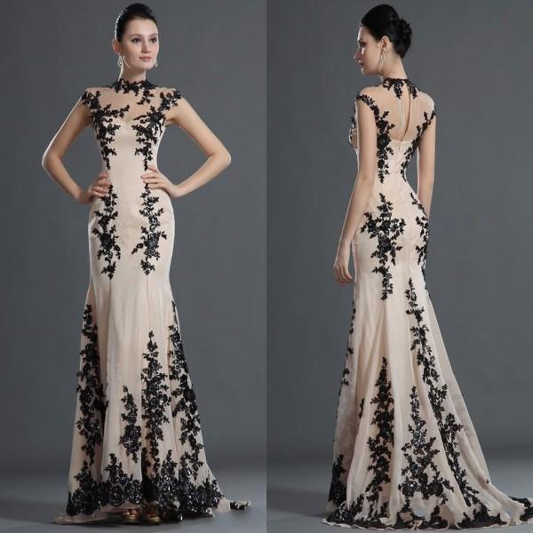 Sheer Lace Evening Dresses 2015 High Neck Backless Mermaid Sweep Train Appliqued Beaded Formal Party Prom Gowns Custom made