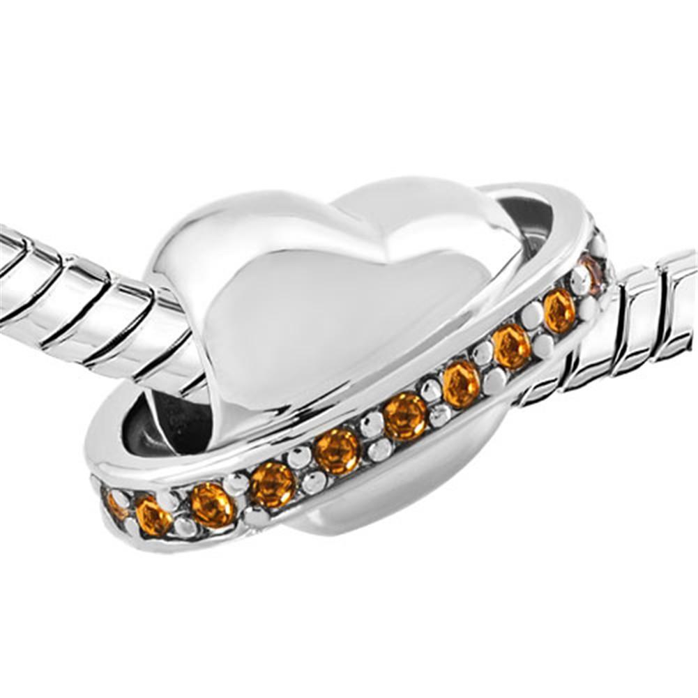 Perle di fascino in argento con topazio alla nascita per bracciale Pandora