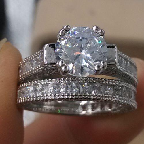 الرجعية الحجم 5-10 مجوهرات الرجعية 14kt الذهب الأبيض معبأ توباز جوهرة خاتم الزواج مجموعة هدية