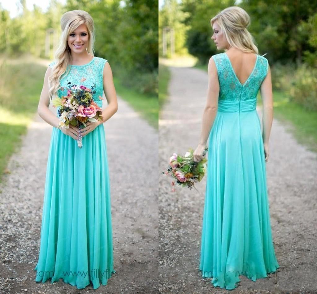 Long Teal Lace Wedding Dresses