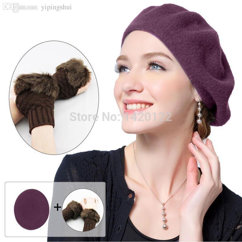 Wholesale-Free Shipping Fashion beret Women Felt French Beanie +Woman Fingerless faux Fur Warm Wrist Knitted Wool Mitten Coffee Gloves