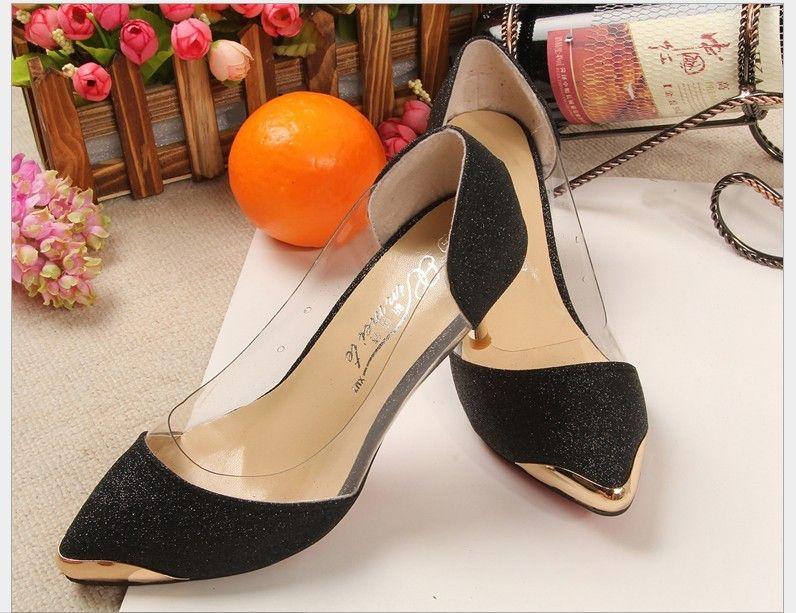 Spring/Autumn Women Shoes High Heels PU Metal Head Pointed Size(33~40) Bumper toe Sexy Women Pumps Wedding Shoes For Women