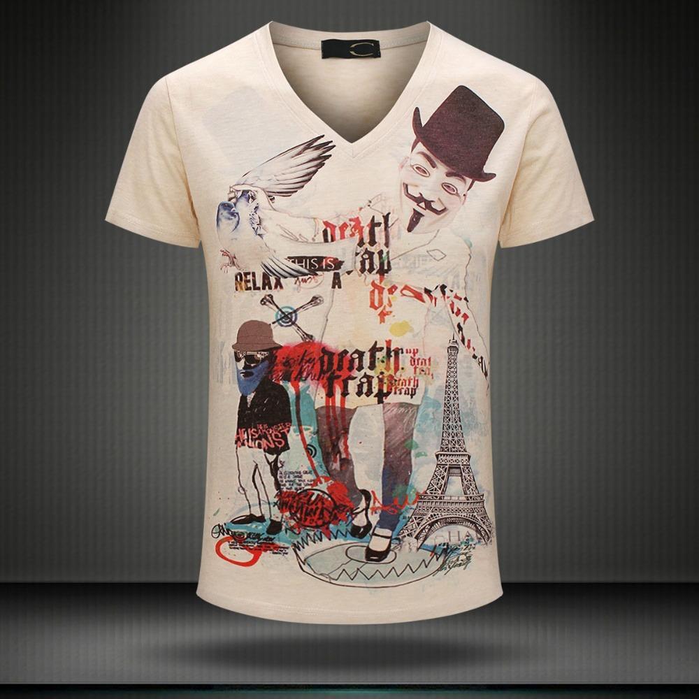 W1209 M - 3XL рок-кукла 2015 лето винтаж с коротким рукавом с v-образным вырезом 3d принт футболка мужчины марка хлопок мужские футболки camisetas