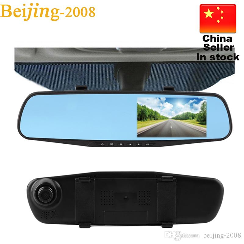 """Full HD 1080P Dvr a specchio per auto Doppia fotocamera 4,3 """"Dash Cam Recorder Telecamere retrovisori Parcheggio Vista posteriore Videocamera doppia lente 010230"""