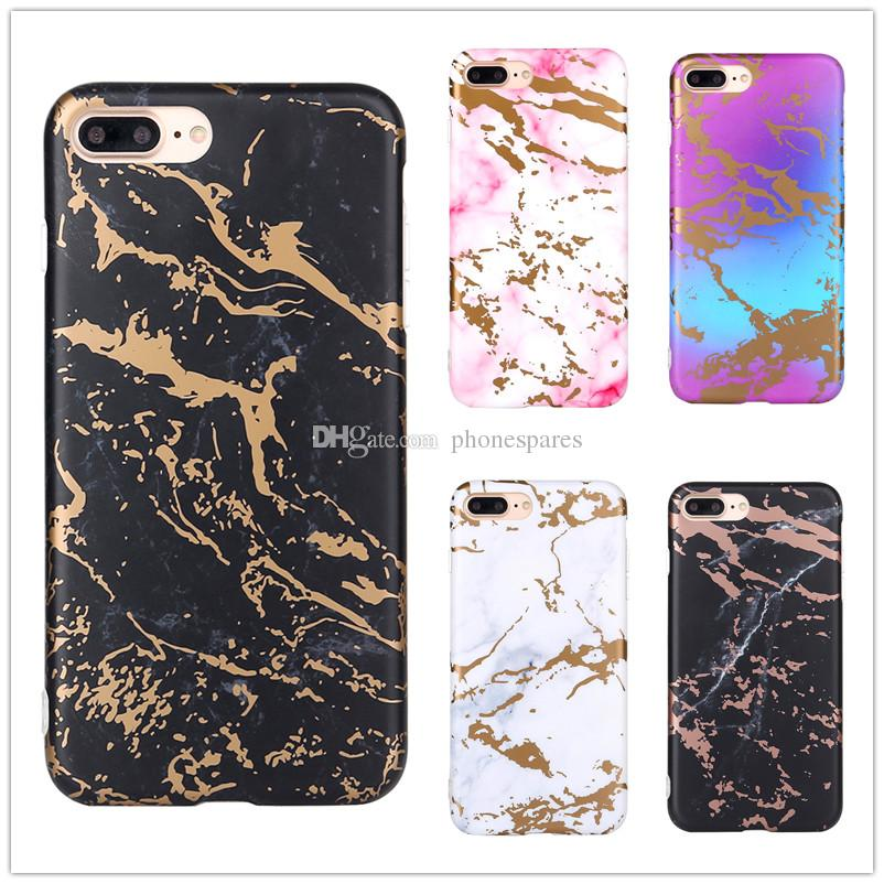 Matte Plated Back Cover Soft TPU Stone Shell Phone Protective Gold Chrome Marble Case for iPhone X 6 6S 7 8 Plus