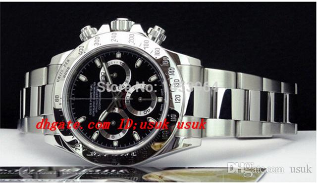 Factory Supplier Luxury Armbanduhr Original-Box 116520 Black Dial Edelstahl Armband Automatische Herren Herrenuhr Uhren