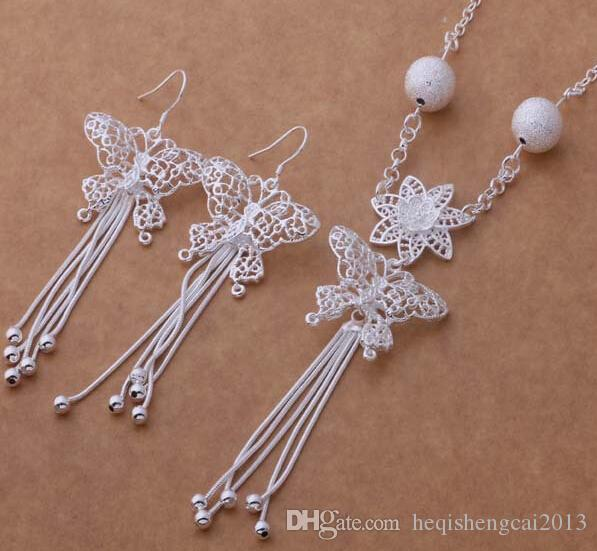 Moda charme pingente de borla A borboleta 925 prata Brinco colar conjuntos de jóias 10 set / lote