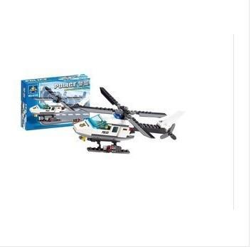 giocattoli militari polizia elicottero collisione bambini didattica blocchi dono giocattoli di montaggio in plastica
