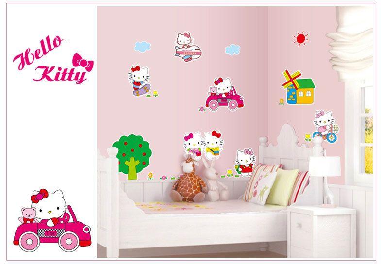 ... New Arrival HELLO KITTY TREE HOUSE Wall Mural Sticker Lovely KITTY CATS  Wallpaper Kids Room Nursery