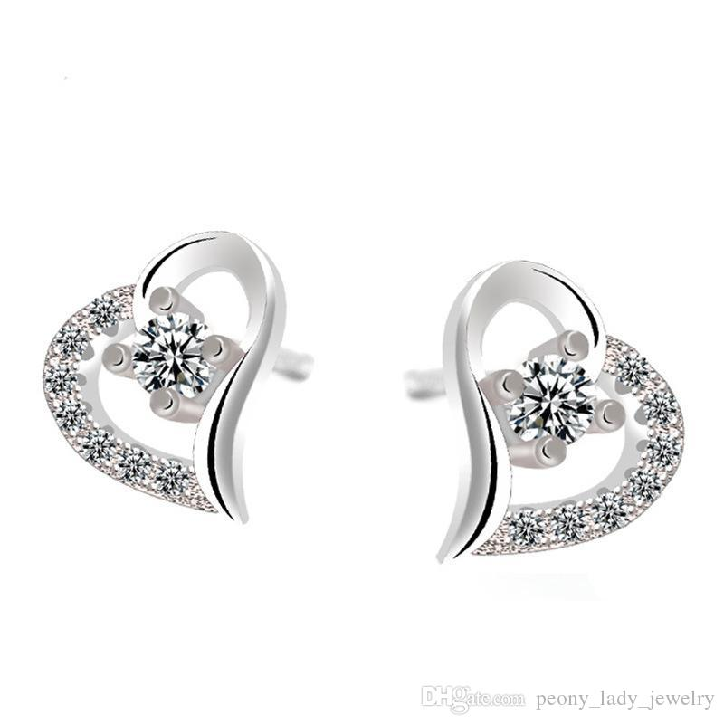 Hot romantic exquisite simple crystal clear diamante hollow heart earrings 925 sterling jewelry