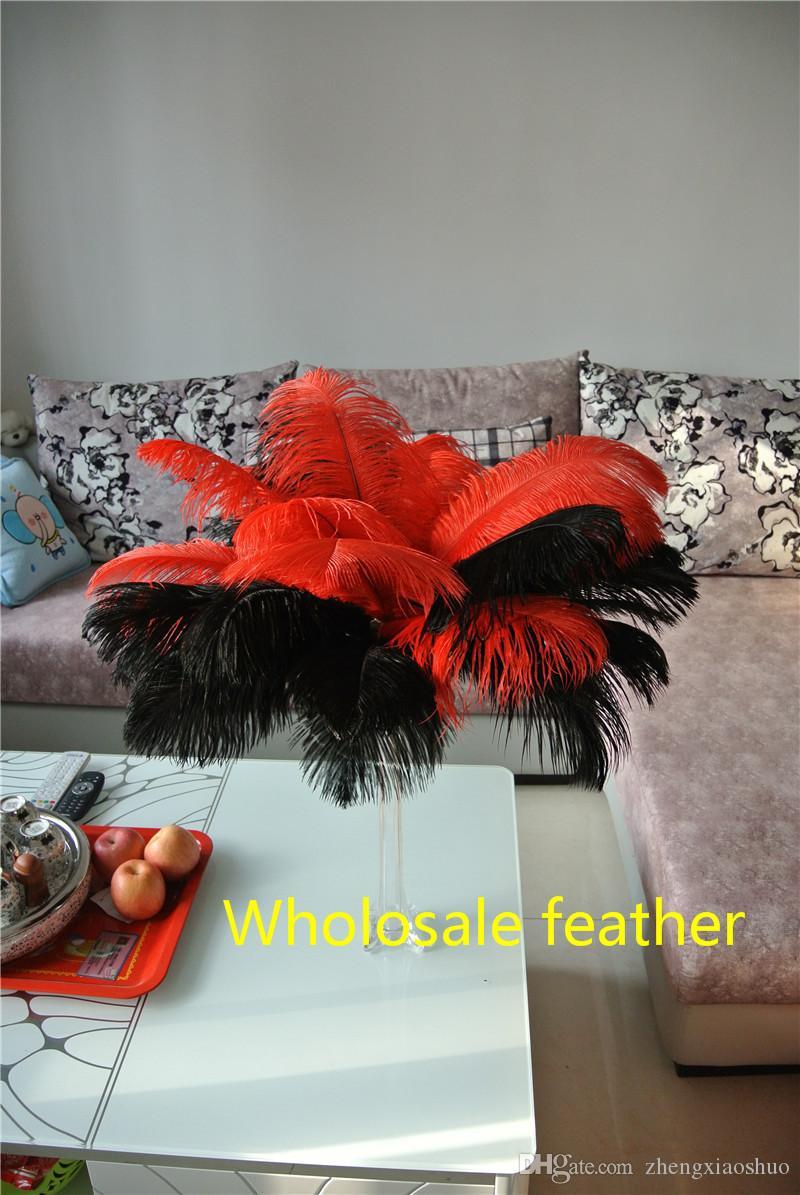 Toptan 14-16 inç (35-40 cm) Kırmızı ve Siyah devekuşu tüyler tüyler Düğün centerpiece düğün Dekor parti için kaynağı