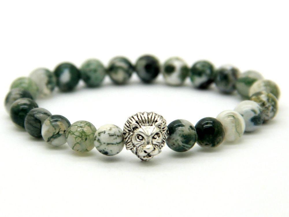 Новое прибытие браслеты Оптовая высокое качество 8 мм натурального дерева зерна камень Львиная голова браслет ювелирные изделия для мужчин подарок