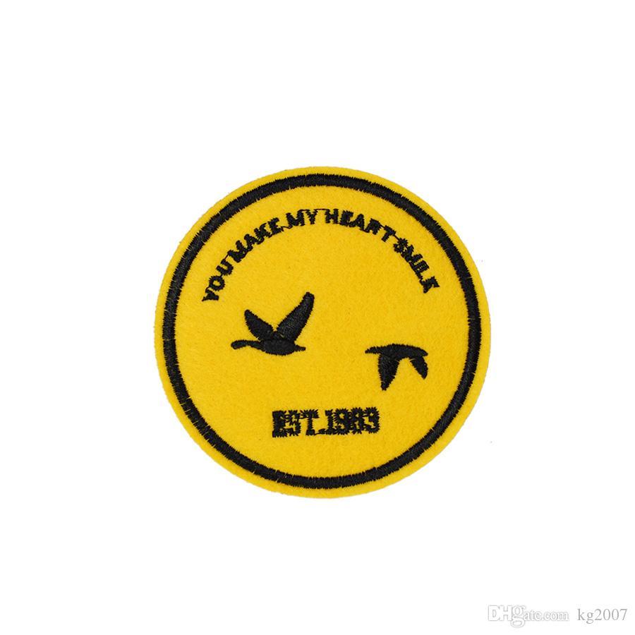 10PCS Yellow Badge Aufnäher für Kleidung Taschen Eisen-on Transfer Applikationen Patch für Jacke Jeans nähen auf Stickerei-Abzeichen DIY