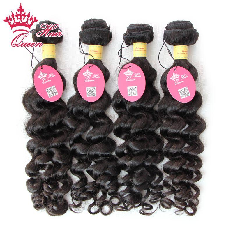 퀸 헤어 천연 검은 머리 제품 페루 더 웨이브 4PCS 많은 무료 페루 페루 더 웨이브 인간의 머리카락 짜다