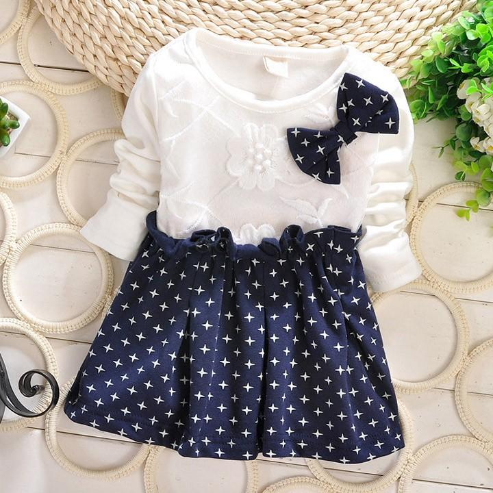 14b2b8f9159b9 2015 Newborn Baby Girl Winter Party Dress Cute Star Long Sleeve Dresses For Baby  Girls Bowknot Princess Dress 25