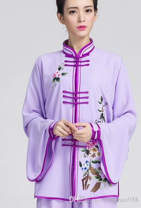 Chinese embroidery high tai chi clothing embroidery team performance competition in the elderly practice martial arts women