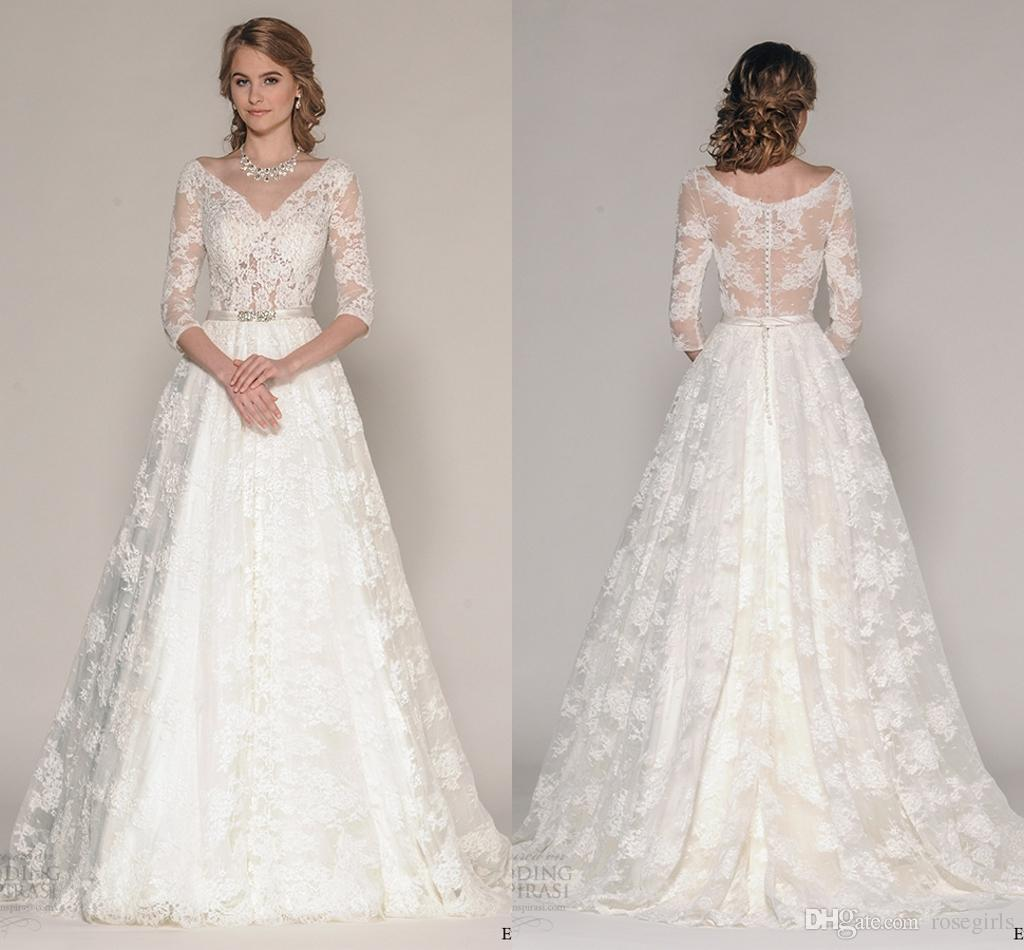 Discount A Line Lace Long Sleeve Wedding Dresses 2016 V Neck Covered Button Long Wedding Gowns Appliques Crystal Sashes Sheer Back Bridal Gown A Line