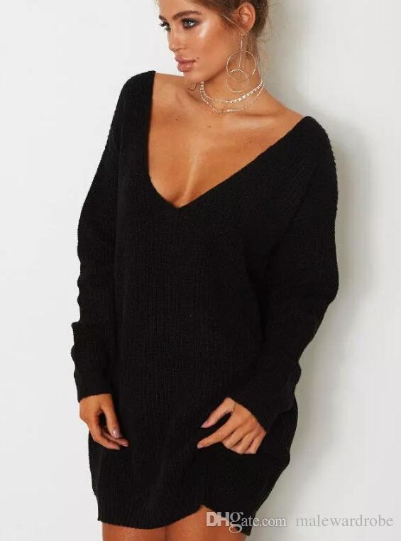 Frauen Herbst V-Ausschnitt Pullover Kleider beiläufige lose Oberseiten-Kleid-reizvolle Frühlings-Kleidung