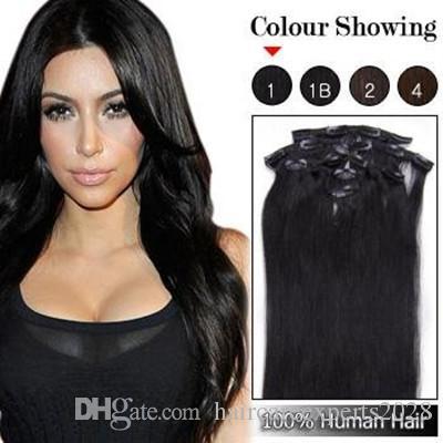 الجملة - 7a 140g / pc 8pc / set # 1 جيت الأسود 100٪ شعرة الإنسان / مقاطع الشعر البرازيلي في ملحقات الحقيقي مستقيم الرأس الكامل جودة عالية