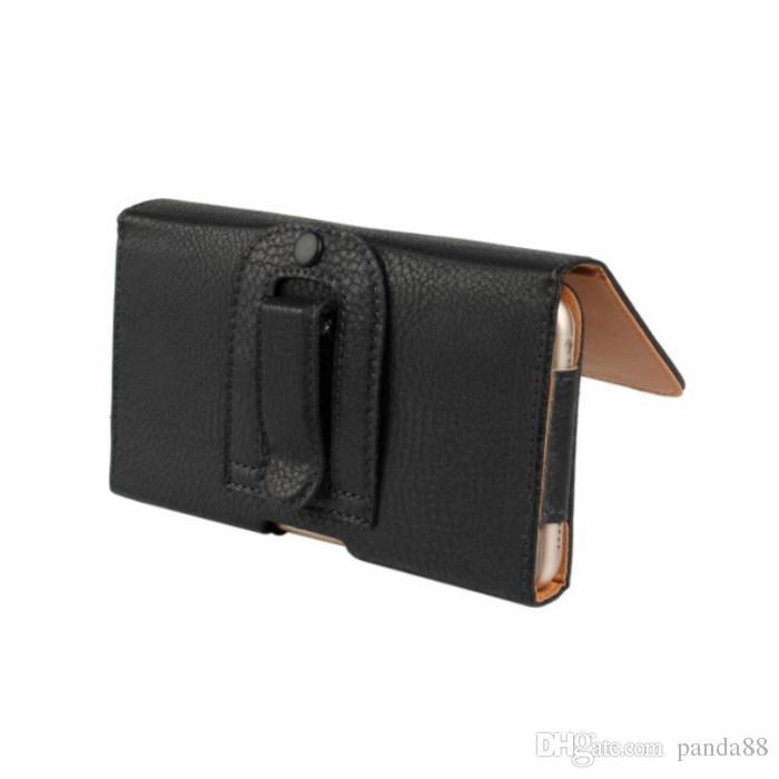 EMS / DHL Negro Cor Clip de cinto PU Pele Couro Carteira Bolsa para Samsung Galaxy Note 5 Telefone Bags