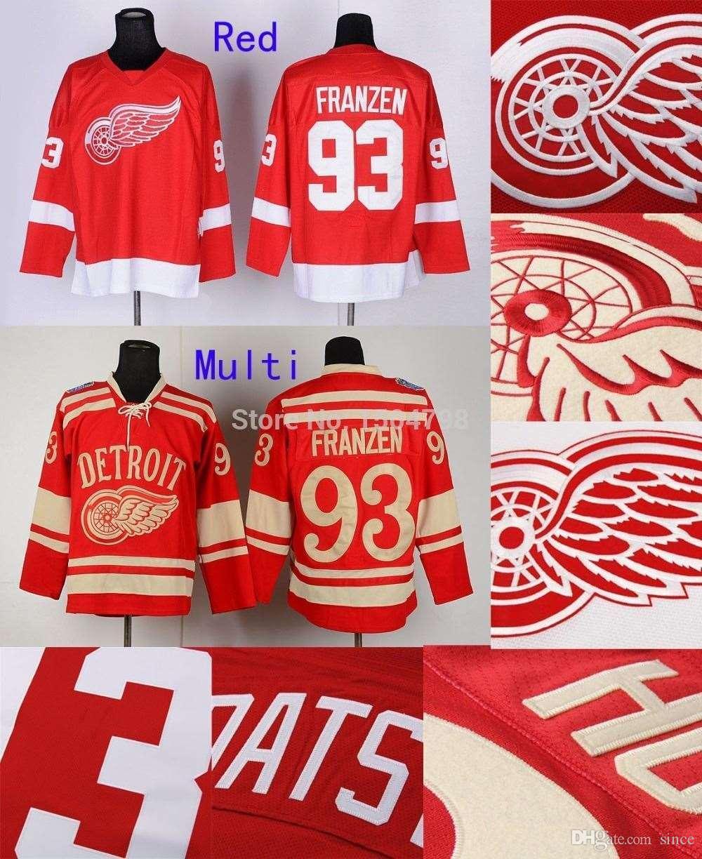 2016 NIEUW, Heren Detroit Red Wings # 93 Johan Franzen Hockey Jerseys Rood 2014 White Winter Classic, Nieuwe gestikte Jerseys, 100% Embroi