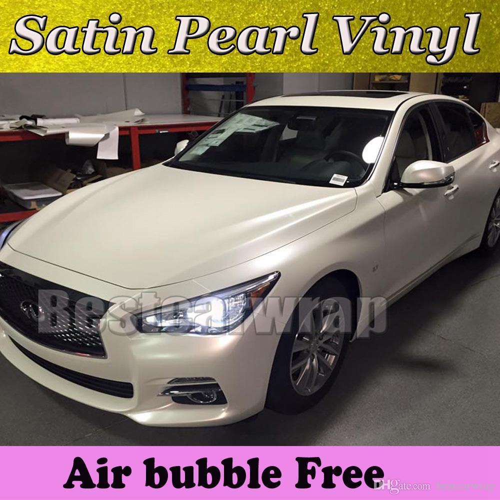 Vinilo blanco brillante perla para envolver el coche Película Foilen con burbuja gratuita 1.52x20m / rollo Envío gratis