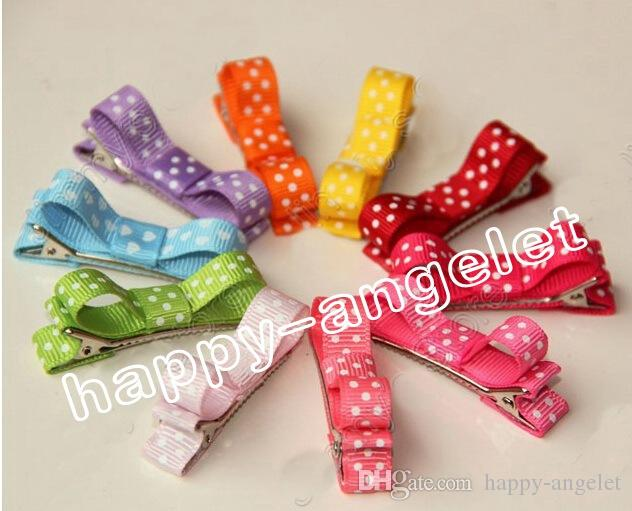 Hair Accessories Bows Clips layered Polka Dot Ribbon Covered Double Single Prong Duckbill Alligator Hairpins Baby headwear 50pcs FJ3226